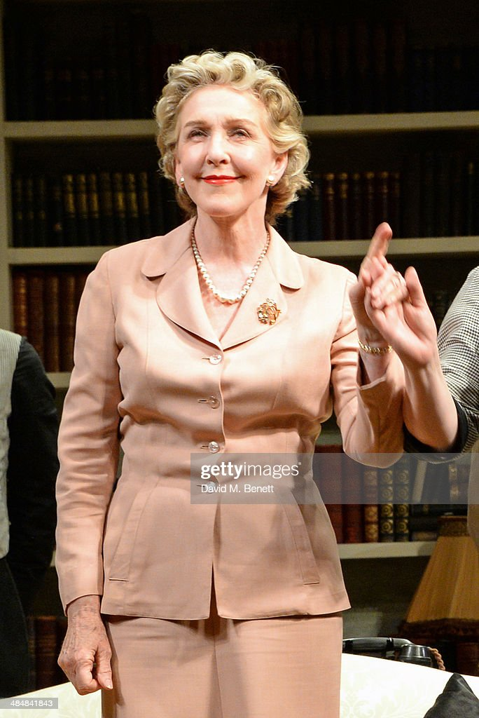 Cast member Patricia Hodge bows at the curtain call during the press night performance of 'Relative Values' at the Harold Pinter Theatre on April 14, 2014 in London, England.