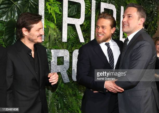 Cast member Pedro Pascal Cast member Charlie Hunnam and Cast member Ben Affleck attend Netflix World Premiere of TRIPLE FRONTIER at Lincoln Center on...