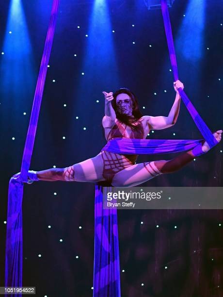 A 'FANTASY' cast member performs during the 19th anniversary and 2019 'FANTASY' calendar launch at the Luxor Hotel and Casino on October 11 2018 in...
