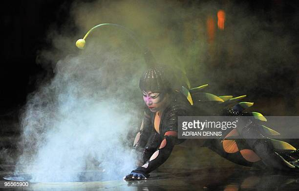 Cast member performs during the dress rehearsal of Cirque Du Soleil's Varekai show at The Royal Albert Hall in London on January 3, 2010. The show...