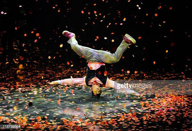 A cast member performs during the fifth anniversary celebration of The Beatles LOVE by Cirque du Soleil show at The Mirage Hotel Casino June 8 2011...
