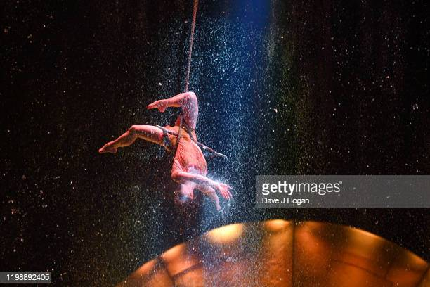 "Cast member performs on stage during the Cirque du Soleil ""LUZIA"" at Royal Albert Hall on January 11, 2020 in London, England."
