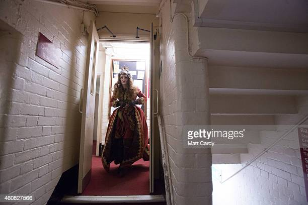 Cast member prepares for the start of The Bristol Hippodrome's production of Dick Whittington on December 23, 2014 in Bristol, England. Many theatres...
