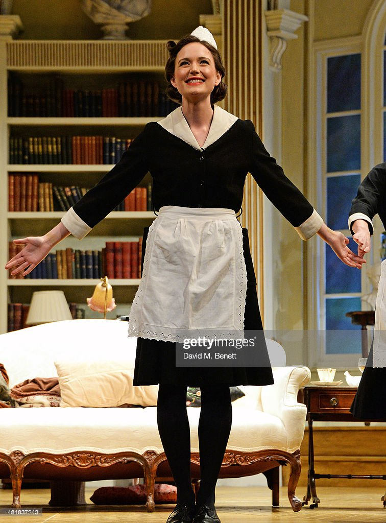 Cast member Rebecca Birch bows at the curtain call during the press night performance of 'Relative Values' at the Harold Pinter Theatre on April 14, 2014 in London, England.