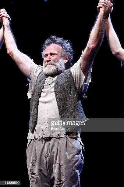 Cast member Robin Williams attends the opening night of Bengal Tiger At The Baghdad Zoo at the Richard Rodgers Theatre on March 31 2011 in New York...