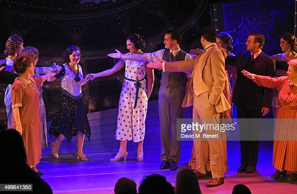Cast member Sheridan Smith bows at the curtain call during the press night after party for 'Funny Girl' at the Menier Chocolate Factory on December 2...