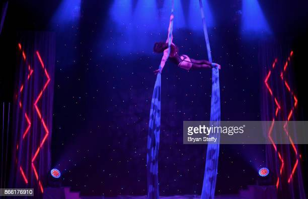 'FANTASY' cast member Sonya performs during the 18th anniversary and 2018 'FANTASY' calendar launch at the Luxor Hotel and Casino on October 24 2017...