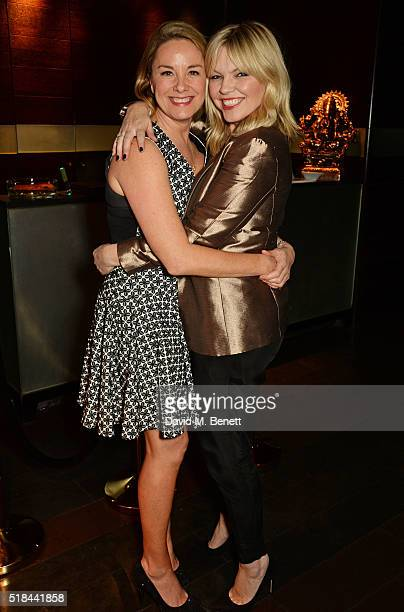 Cast member Tamzin Outhwaite and Kate Thornton attend the press night after party of How The Other Half Loves at Mint Leaf on March 31 2016 in London...