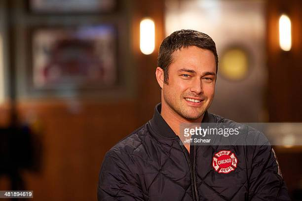"""Cast member Taylor Kinney attends """"Top Dog"""" Winner Makes Cameo On """"Chicago Fire"""" on April 1, 2014 in Chicago, Illinois."""