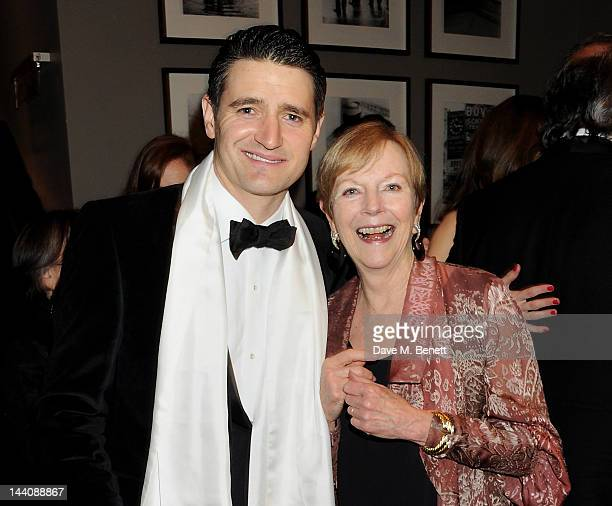 Cast member Tom Chambers and Ava Astaire McKenzie daughter of Fred Astaire attend an after party celebrating the press night performance of 'Top Hat'...