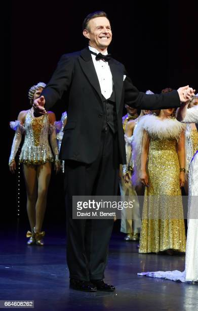 Cast member Tom Lister bows at the curtain call during the Opening Night Royal Gala performance of '42nd Street' in aid of the East Anglia Children's...