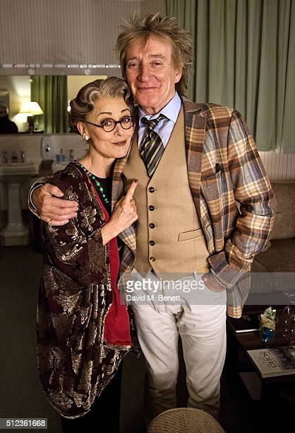 Cast member Tracie Bennett and Rod Stewart pose backstage following a performance of Mrs Henderson Presents at the Noel Coward Theatre on February 25...