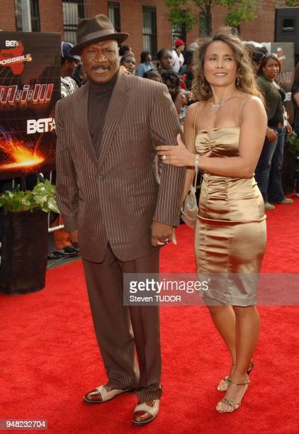 Cast member Ving Rhames and wife arrive at Premiere of Mission Impossible 3 held at Harlem's Magic Johnson Theaters in New York NY on Wednesday May 3...