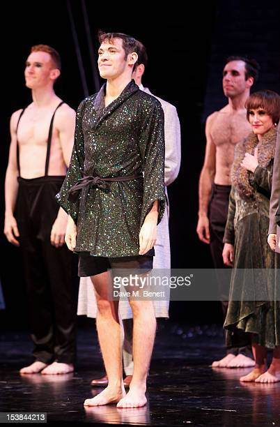 Cast member Will Young bows at the curtain call during the press night performance of 'Cabaret' at The Savoy Theatre on October 9 2012 in London...