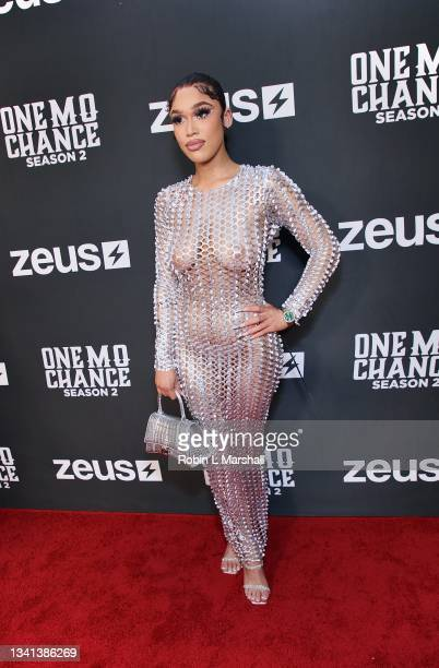 """Cast Member Yodela attends Zeus Network's """"One Mo Chance"""" Season 2 Premiere at AMC Universal at City Walk on September 19, 2021 in Universal City,..."""