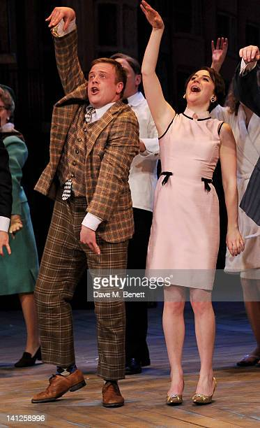 Cast memberes Owain Arthur and Gemma Whelan bow at the curtain call during the press night performance of 'One Man Two Guvnors' as it transfers to...