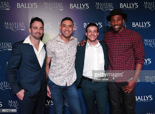 Cast members Aaron Lacey Curtis Goodman Jesse Sykes and William Credell attend the opening night of 'Masters of Illusion' at Bally's Las Vegas on...