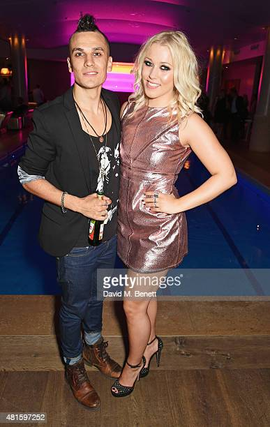 Cast members Aaron Sidwell and Amelia Lily attend an after party following the press night performance of 'American Idiot' at The Haymarket Hotel on...
