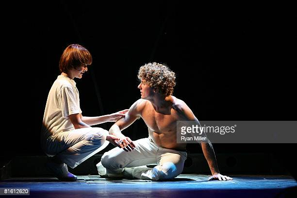 Cast members actors Lorenzo Doryon and Aleks Pevec perform during the dress rehearsal of The Who's 'Tommy' held at the Richardo Montalban Theatre on...
