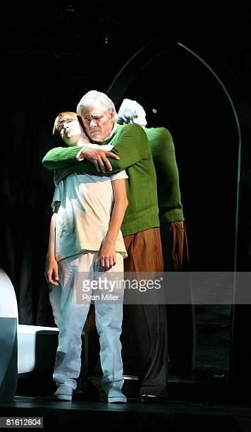 Cast members actors Lorenzo Doryon and Hank Adams perform during the dress rehearsal of The Who's 'Tommy' held at the Richardo Montalban Theatre on...