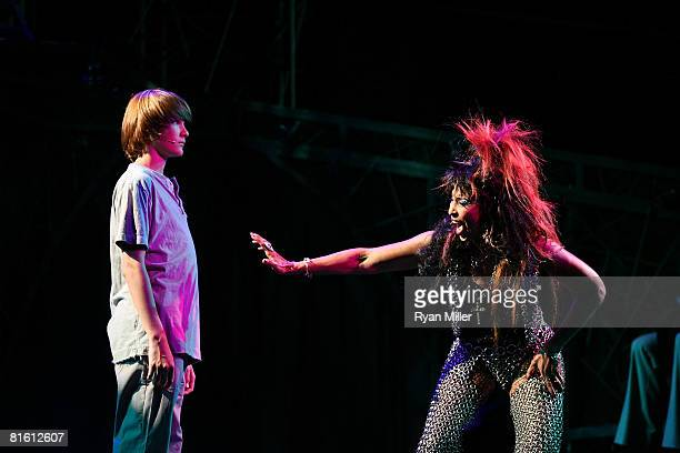 Cast members actors Lorenzo Doryon and Nona Hendryx perform during the dress rehearsal of The Who's 'Tommy' held at the Richardo Montalban Theatre on...