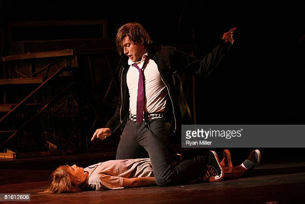 Cast members actors Lorenzo Doryon and PJ Griffith performs during the dress rehearsal of The Who's 'Tommy' held at the Richardo Montalban Theatre on...