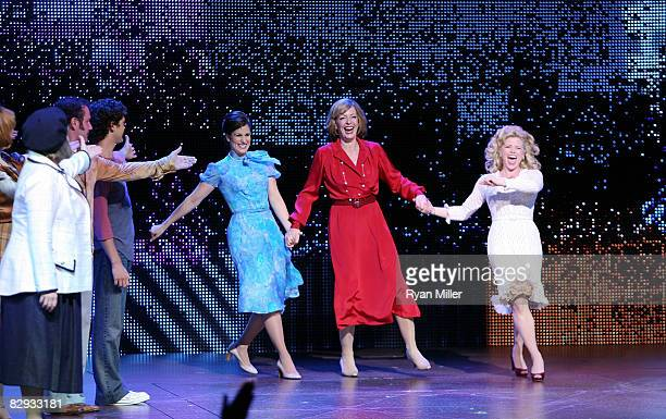 Cast members actors Stephanie J Block Allison Janney and Megan Hilty take there curtian call during the world premiere of of 9 to 5 The Musical at...