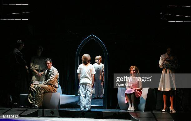 Cast members actors Tom Schmid Lorenzo Doryon and Alice Ripley perform during the dress rehearsal of The Who's 'Tommy' held at the Richardo Montalban...