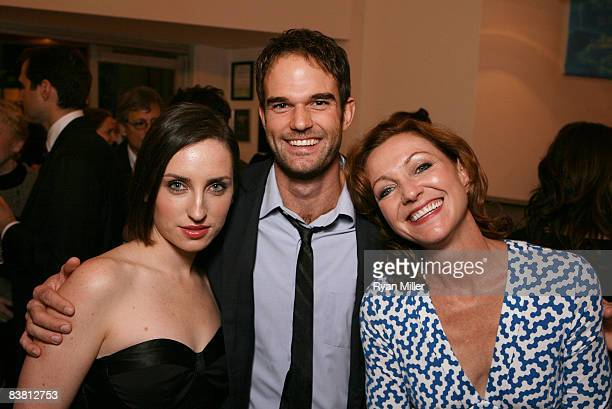 Cast members actors Zoe ListerJones Brian Henderson and Julie White pose during the opening night party for 'The Little Dog Laughed' at the CTG/KIrk...