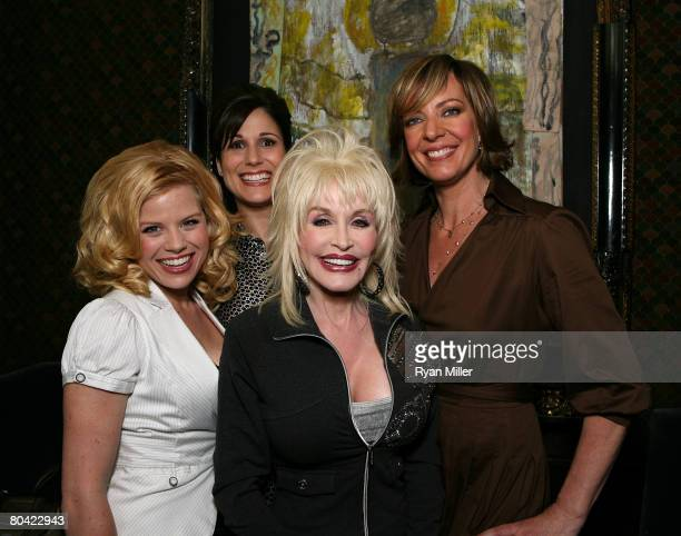 Cast members actresses Megan Hilty Stephanie J Block Singer/Songwriter Dolly Parton and Allison Janney pose during the CTG/Ahmanson Theatre Preview...