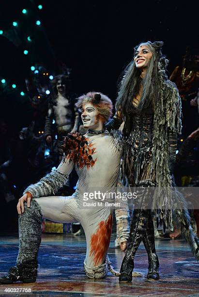 Cast members Adam Salter and Nicole Scherzinger bow at the curtain call during the press night performance of 'Cats' as Nicole Scherzinger joins the...
