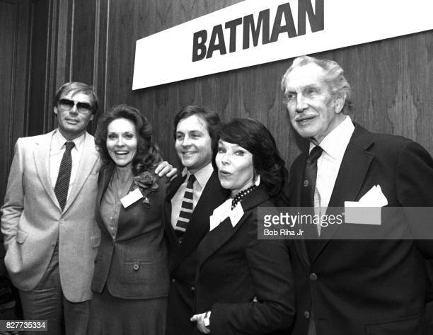 'BATMAN' cast members Adam West Lee Meriwether Burt Ward Yvonne Craig and Vincent Price and pose at luncheon at Century Plaza Hotel April 13 1983 in...