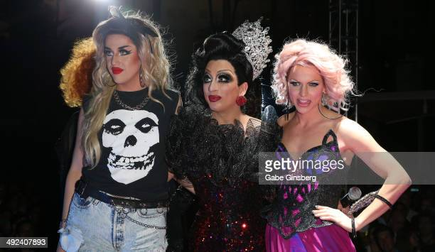Cast members Adore Delano Bianca Del Rio and Courtney Act celebrate after Del Rio was delclared the winner and Delano and Act runnersup of season six...