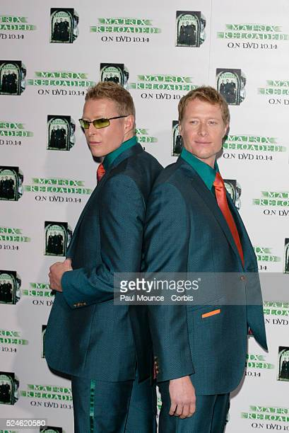 Cast members Adrian and Neil Rayment arrive at the launch party celebrating the Warner Home Video release of 'The Matrix Reloaded'
