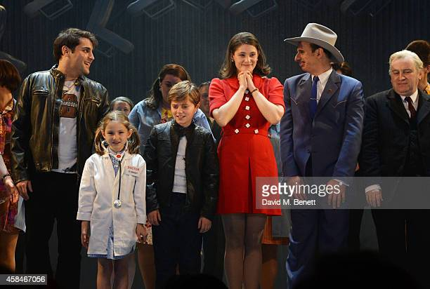 Cast members Adrian der Gregorian Annie Guy Tommy Rodger Gemma Arterton Steve Furst and Ian Jervis bow at the curtain call during the press night...