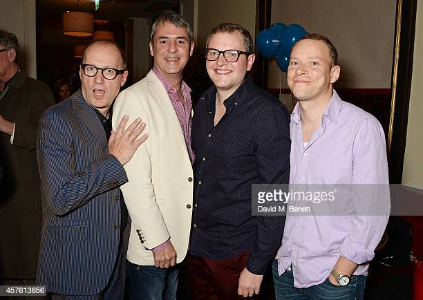 Cast members Adrian Edmondson Neil Morrissey Miles Jupp and Robert Webb attend an after party following the press night performance of 'Neville's...