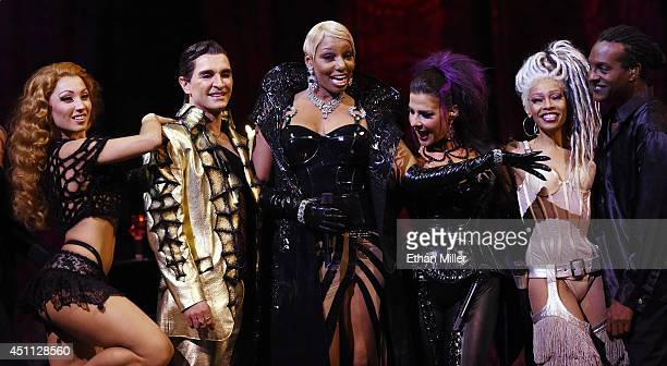 Cast members Agnes Roux and Antonio Drija actress NeNe Leakes and cast members Corinne Zarzour Paris Red and Eliot Douglas pose after performing...