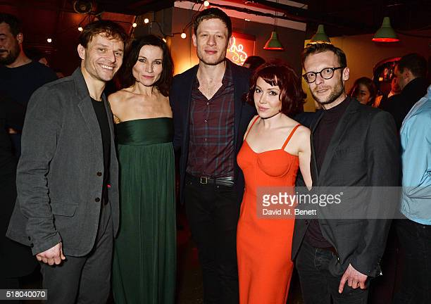 Cast members Alec Newman Kate Fleetwood James Norton Daisy Lewis and Carl Prekopp attend the press night performance of 'Bug' at Found111 on March 29...