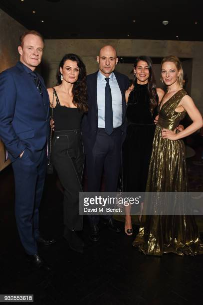 Cast members Alistair Petrie Lyne Renee Mark Strong Karima McAdams and Anastasia Griffith attend an after party following the Global Premiere of Deep...