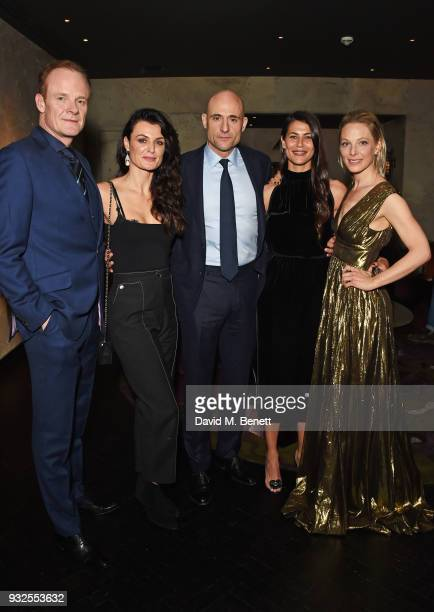 Cast members Alistair Petrie Lyne Renee Mark Strong Karima McAdams and Anastasia Griffith attend an after party following the Global Premiere of...