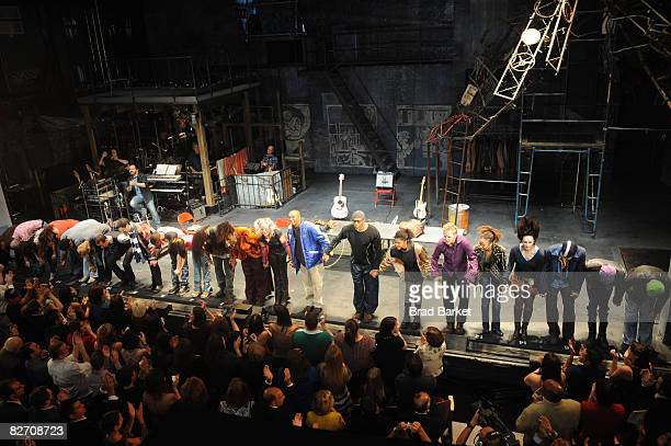 Cast members and former cast members attend the curtain call in 'RENT' on Broadway during its closing night at the Nederlander Theatre on September 7...