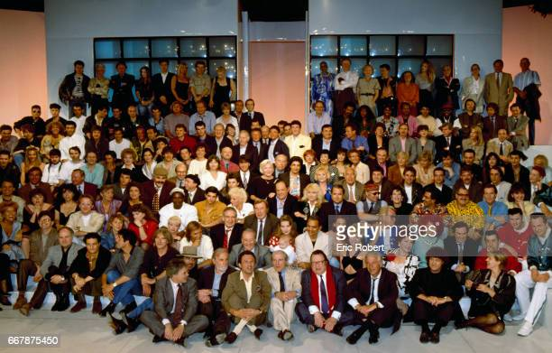 Cast members and former guests gather for the final episode of the French television show Champs-Elysees. Among the celebrities invited are Guy...