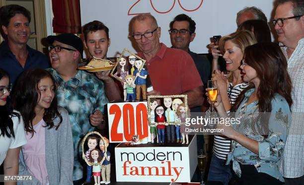 Cast members and producers attend the ABC celebration of the 200th episode of 'Modern Family' at Fox Studios on November 15 2017 in Los Angeles...