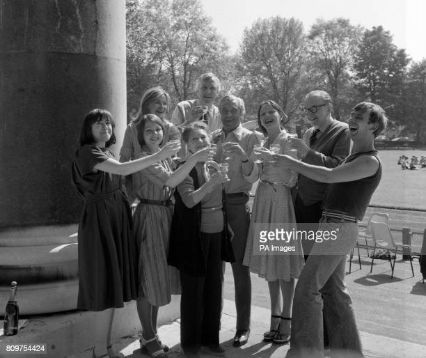 Cast members and the director of London Weekend's 'Upstairs Downstairs' television series Jenny Tomasin Hannah Gordon Jackie Tong Angela Baddeley...