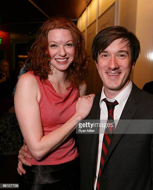 Cast members Andrea Frankle and Carson Elrod pose during the party for the opening night performance of 'The Wake' at the Center Theatre Group's Kirk...