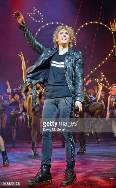 Cast members Andrew Polec bow at the curtain call during the Gala Night performance of 'Bat Out Of Hell The Musical' at The Dominion Theatre on April...