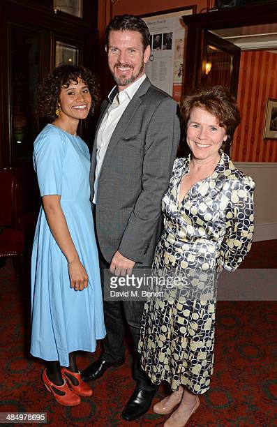 Cast members Angel Coulby Lloyd Owen and Imelda Staunton attend the press night performance of 'Good People' at the Noel Coward Theatre on April 15...