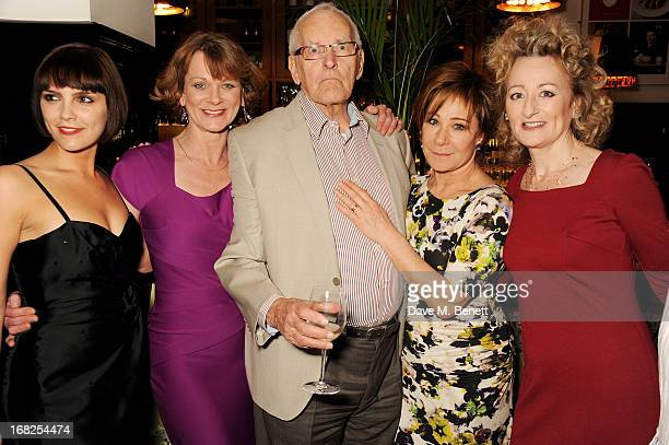Cast members Annabel Scholey Samantha Bond playwright Peter Nichols Zoe Wanamaker and Sian Thomas attend an after party following the press night...