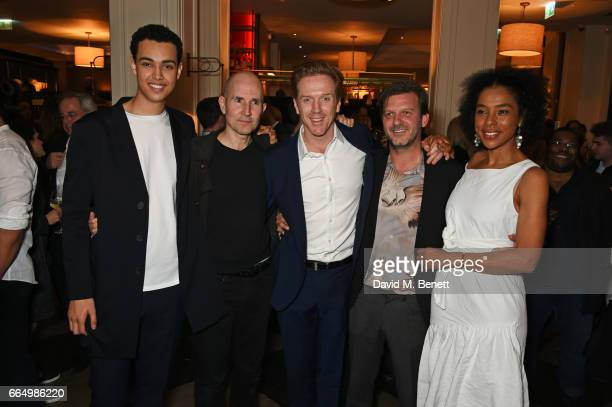 Cast members Archie Madekwe director Ian Rickson Damian Lewis Jason Hughes and Sophie Okonedo attend the press night after party for Edward Albee's...