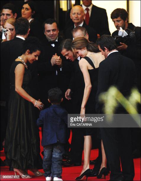 Cast members Archie Panjabi and Irrfan Khan, British director Michael Winterbottom, Mariane Pearl, her son Adam Pearl, cast member Angelina Jolie,...